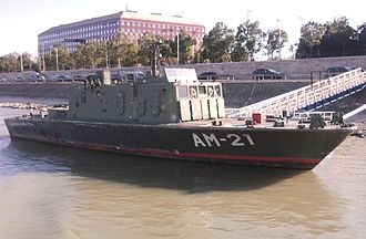 Hungarian Defence Forces - Retired AM-21 Százhalombatta minesweeper in Budapest, other Yugoslav-made Nestin MS-25 minesweepers still used in Hungary