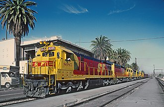 Santa Fe–Southern Pacific merger - Image: AT&SF 8085 in Needles, CA on April 9, 1987 (28159540004)