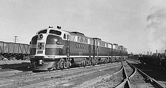 EMD FT - Atchison, Topeka, and Santa Fe Railroad diesel freight locomotive which has just come out of the roundhouse, Winslow, Arizona.