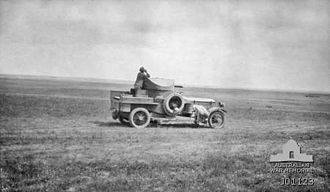 Second Battle of Gaza - An Australian observing the battle from an armoured car