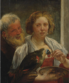 """A BEARDED MAN AND A WOMAN WITH A PARROT- """"UNREQUITED LOVE"""".PNG"""