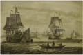 A DUTCH MAN-OF-WAR WITH A FLOTILLA OF FISHING BOATS AND OTHER SHIPS- A PENSCHILDERIJ.PNG