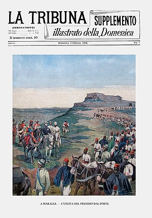 For a ransom and under Ethiopian guard, Menelik let the Italians and Askaris go (La Tribuna Illustrata, 1896)