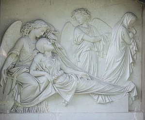A mother dies and is taken by angels as her new-born child is taken away, A grave from 1863 in Striesener Friedhof in Dresden.jpg