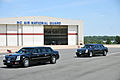 A motorcade carrying President Barack Obama arrives at the flight line of the North Carolina Air National Guard base at Charlotte Douglas International Airport in Charlotte, N.C., Aug. 26, 2014 140826-Z-FY745-154.jpg