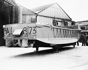 Landing Craft Assault - A newly-completed LCA (assault landing craft) ready for launching, 1942.