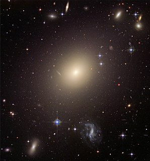 Elliptical galaxy Galaxy having an approximately ellipsoidal shape and a smooth, nearly featureless brightness profile