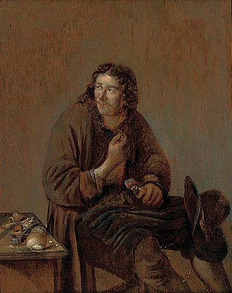 Abraham Diepraam - A cobbler at work.