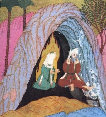 Abu Bakr und Mohammed verbergen sich vor der Hidschra in der Höhle am Berge Thaur (Darstellung aus dem Siyer-i Nebi, 1595 abgeschlossen)