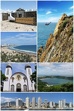 Acapulco panoramic collage. Top, from left to right: Acapulco Bay, La Quebrada, Fort of San Diego, Our Lady of Solitude Cathedral, Isla El Morro at La Condesa beachAcapulco Diamante and Caleta y Caletilla.