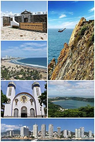 Acapulco - Acapulco panoramic collage. Top, from left to right: Acapulco Bay, La Quebrada, Fort of San Diego, Our Lady of Solitude Cathedral, Isla El Morro at La Condesa beachAcapulco Diamante and Caleta y Caletilla.