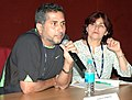 Actor Marlon Moreno of the Columbian film 'A Ton of Luck' with co-ordinator Rosa Carrillo addressing a press conference on November 02,2007 at IFFI, Panaji, Goa.jpg