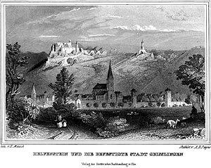 Helfenstein Castle - Engraving of Helfenstein Castle with the town of Geislingen an der Steige below its ruins.