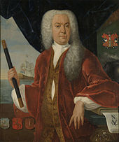 Adrian Valckenier, Governor-General of the Dutch East Indies, in a large white wig and regal clothing, holding a pipe-shaped object