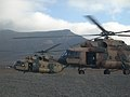 Afghan Air Force Mi-17 helicopters depart from the helicopter landing zone at Forward Operating Base Thunder in Paktia province, Afghanistan, Nov. 18, 2013, as part of a routine training flight 131118-A-CX194-011.jpg