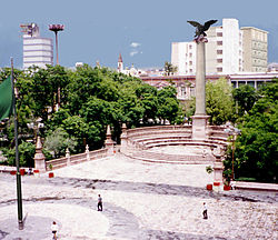 "Main square, a landmark of the city, is often called ""the exedra"""