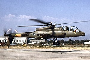 Lockheed AH-56 Cheyenne - An AH-56 hovering over a helipad
