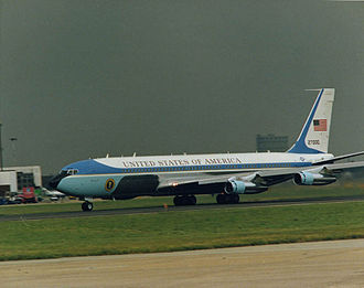 Boeing 707 SAM 27000 served presidents Nixon to George W. Bush; it was the primary transport for Nixon through Reagan. Air Force One SAM 27000.jpg