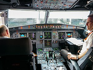 Fly-by-wire - The Airbus A320 family was the first commercial airliner to feature a full glass cockpit and digital fly-by-wire flight control system. The only analogue instruments were the RMI and brake pressure indicator.