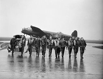 No. 106 Squadron RAF - 106 squadron Lancaster aircrew at RAF Syerston after raiding Genoa, October 1942