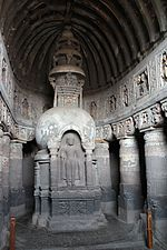 File:Ajanta, cave 19, chaitya-griha, Buddha (9842265455).jpg