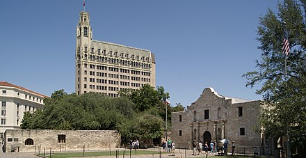 2011 view of the scene in 1844 Gentilz painting [top] and 1880s view above Alamo Mission, San Antonio, Texas, USA.jpg
