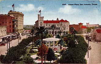Alamo Plaza Historic District - 1917 Postcard depicting the Alamo Plaza