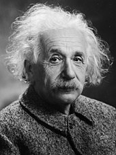 A photograph of Albert Einstein, with flowing, white hear