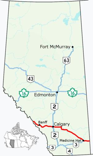 Alberta Highway 1 - Image: Alberta Highway 1 Map