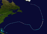 Storm track of Hurricane Alex