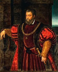 Alfonso d'Este after Titian (attributed to Bastianino: Alfonso relaxes by a cannon's mouth, with his hand on the hilt of his sword