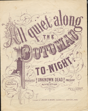 All Quiet Along the Potomac Tonight - Cover, sheet music, 1863