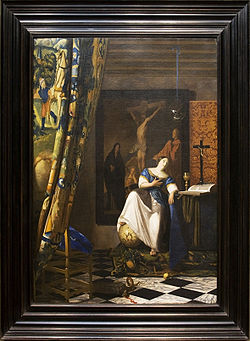 Allegory of the Catholic Faith - Painting of Vermeer, with frame.jpg