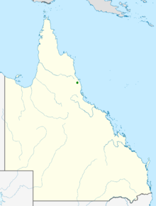 Map of Queensland showing highlighted range covering a small area in Far North Queensland