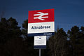 Altnabreac Station Sign and CCTV Warning (15917595023).jpg