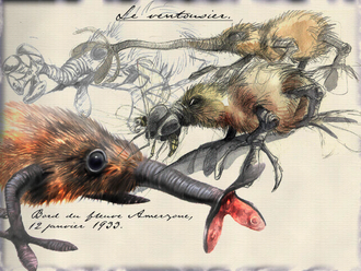 Amerzone - An in-game illustration of the ventousier. Animals in Amerzone add fantastical traits onto real-life creatures.