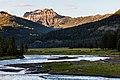 Ampitheater Mountain ridge and Soda Butte Creek at sunset (35802101554).jpg