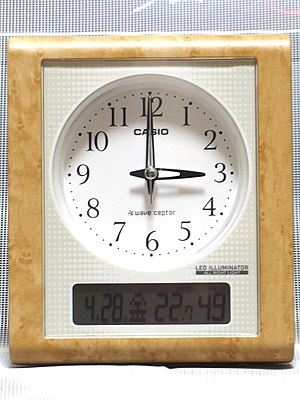 Radio clock - Image: Analog radio clock in 201704