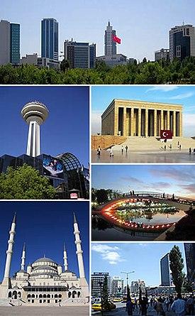 Ve směru hodinových ručiček, shora: panorama Söğütözü, Anıtkabir, Gençlik Parkı, náměstí Kızılay, mešita Kocatepe, Atakule