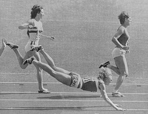 Athletics at the 1972 Summer Olympics – Women's 100 metres hurdles - Left-right: Ann Wilson, Patty Johnson, Jacqueline André in heat four