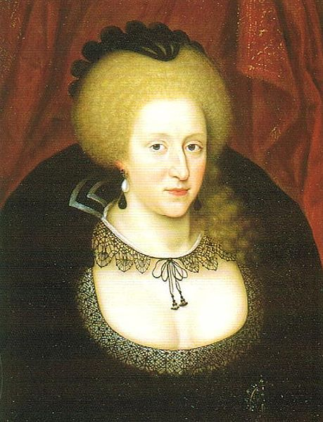 Fișier:Anne of Denmark mourning the death of her son Henry in 1612.jpg