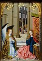 Annunciation, by the Master of the Hartford Annunciation, France, School of Amiens, c. 1480, oil and tempera on canvas transferred from panel - Wadsworth Atheneum - Hartford, CT - DSC05102.jpg