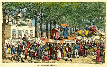 Satirical cartoon showing Sir John and Lady Douglas being led to the pillory outside Montagu House, Blackheath, after being discredited in giving evidence against Queen Caroline. Anticipations for the Pillory.jpg