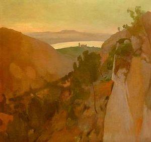 Serra de Na Burguesa - Antoni Gelabert painting of  Serra de Na Burguesa
