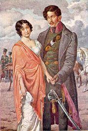 Antonie Adamberger mit ihrem Verlobten Theodor Körner. Postkarte nach einem Gemälde von Hugo Schubert (Quelle: Wikimedia)