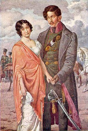 Antonie Adamberger - Antonie Adamberger with her fiancé Theodor Körner. Postcard after a painting by Hugo Schubert.