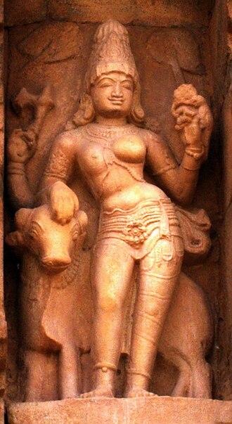 Ardhanarishvara - A three-armed Ardhanarishvara sculpture with only Nandi as a vahana, 11th century, Gangaikonda Cholapuram temple