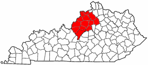 Area code 502 - Approximate service area of Area Code 502 is in red.