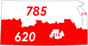 Map of Kansas with area code 620 in red