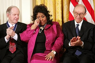 Robert Conquest - Conquest (left) receiving the Presidential Medal of Freedom with Aretha Franklin (middle) and Alan Greenspan (right) at the White House, 2005